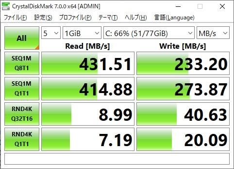 Sandisk SSD Cドライブ速度